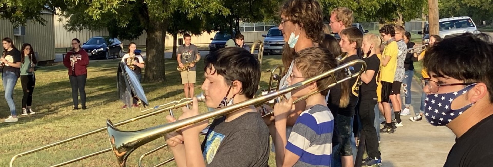 Band plays at outdoor pep rally