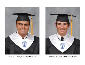 Mateo and Chase in graduation gowns