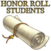 honor roll students with scroll