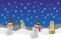 snowmen playing band instruments