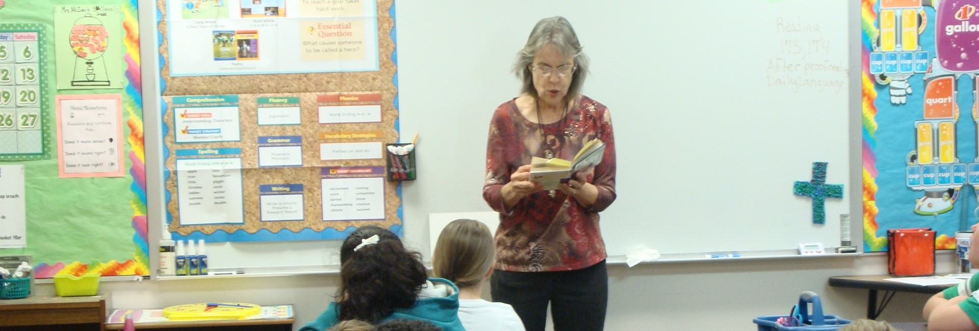 Ms. Marie Volunteers to Read to Elementary Students Each Week